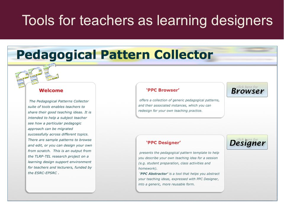 Tools for teachers as learning designers