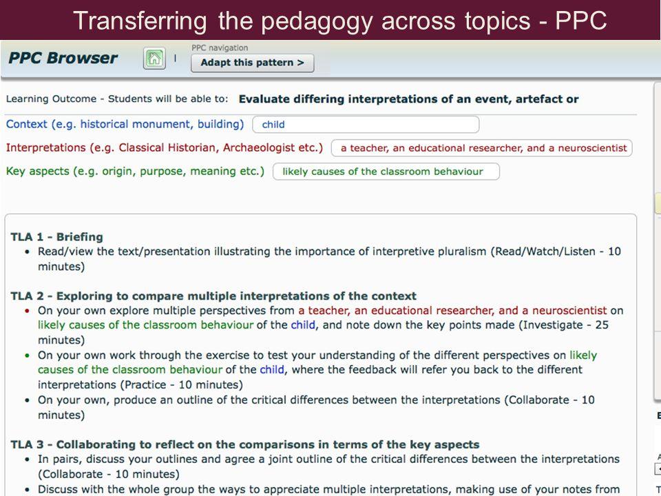 Transferring the pedagogy across topics - PPC