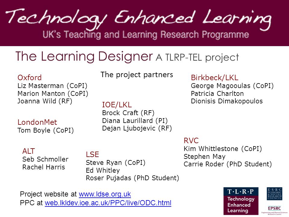 The Learning Designer A TLRP-TEL project