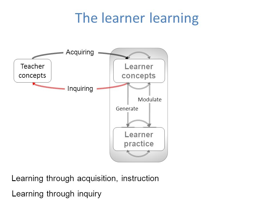 The learner learning Learning through acquisition, instruction