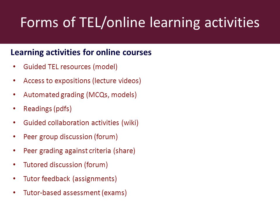 Forms of TEL/online learning activities