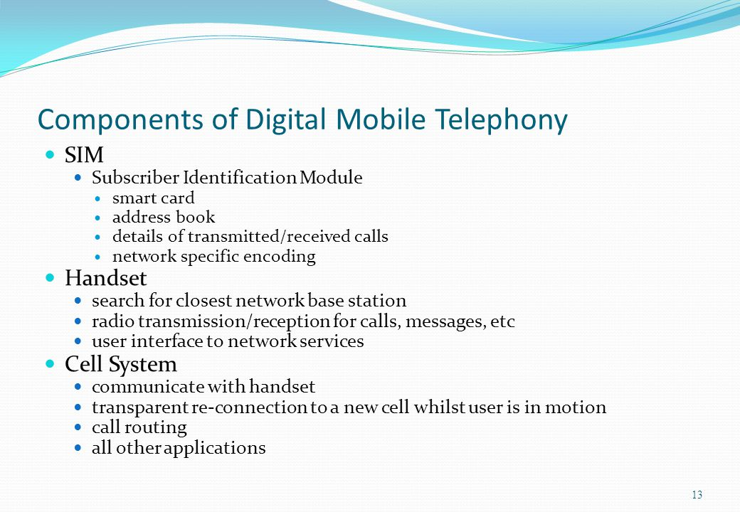 Components of Digital Mobile Telephony