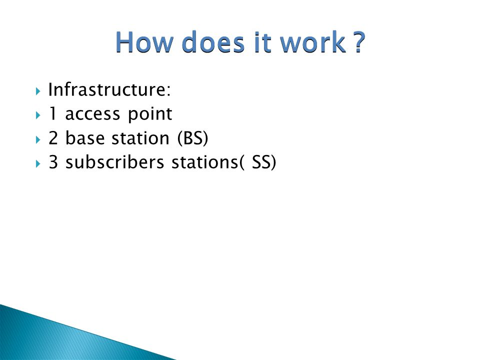 How does it work Infrastructure: 1 access point 2 base station (BS)