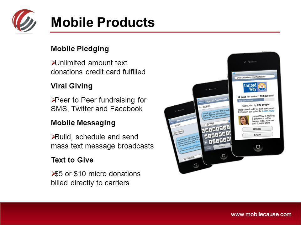 Mobile Products Mobile Pledging