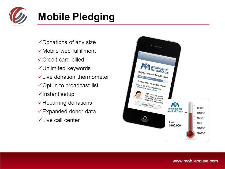 Mobile Pledging Donations of any size Mobile web fulfillment