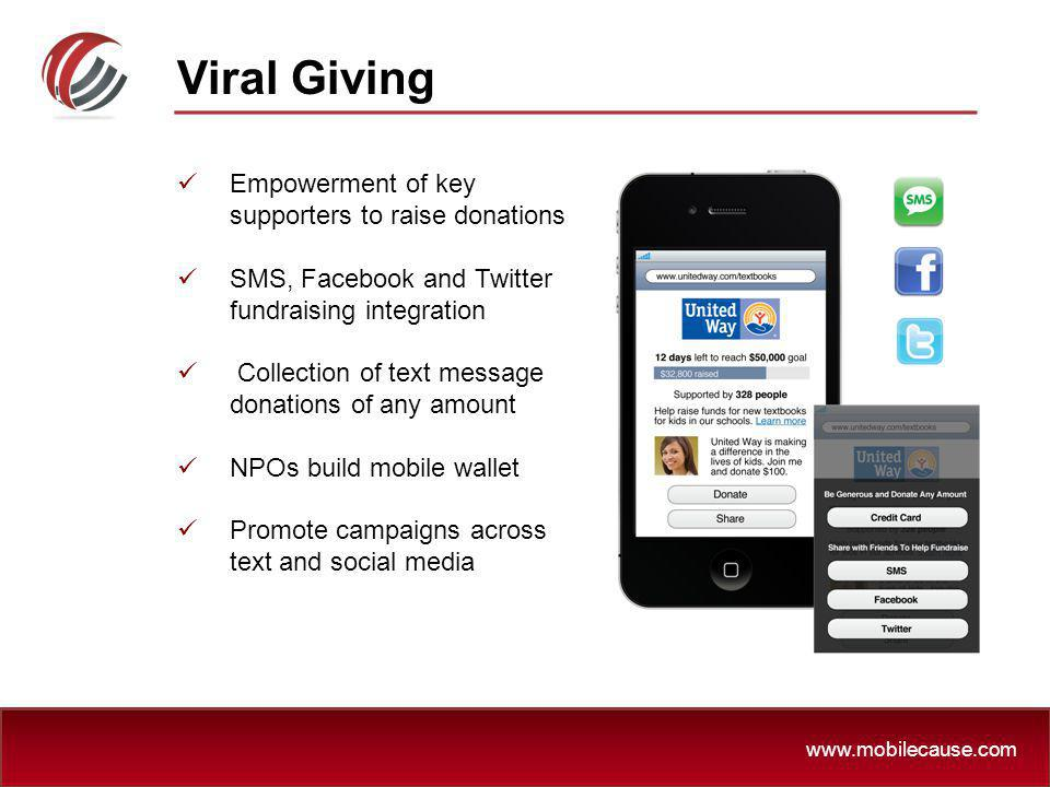 Viral Giving Empowerment of key supporters to raise donations