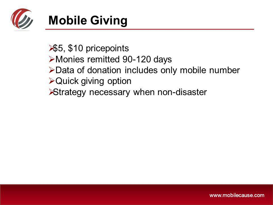 Mobile Giving $5, $10 pricepoints Monies remitted 90-120 days