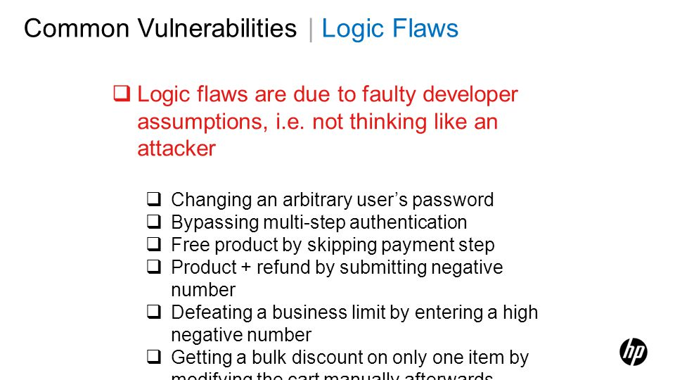 Common Vulnerabilities | Logic Flaws