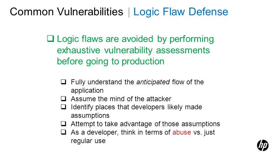 Common Vulnerabilities | Logic Flaw Defense