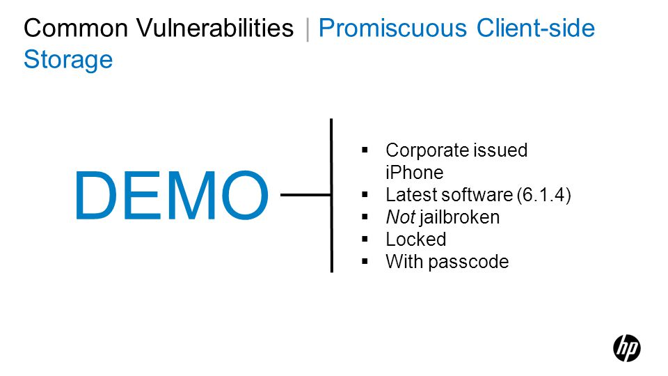 DEMO Common Vulnerabilities | Promiscuous Client-side Storage
