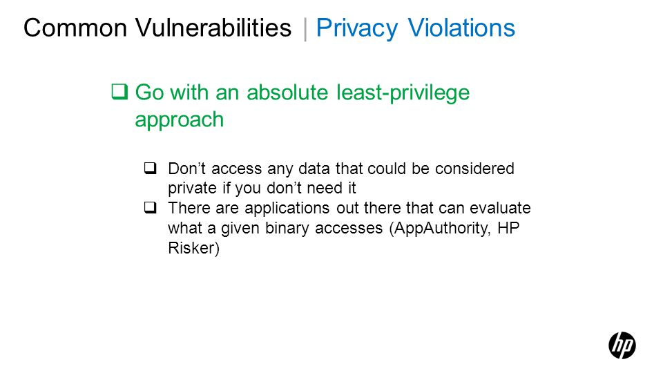 Common Vulnerabilities | Privacy Violations