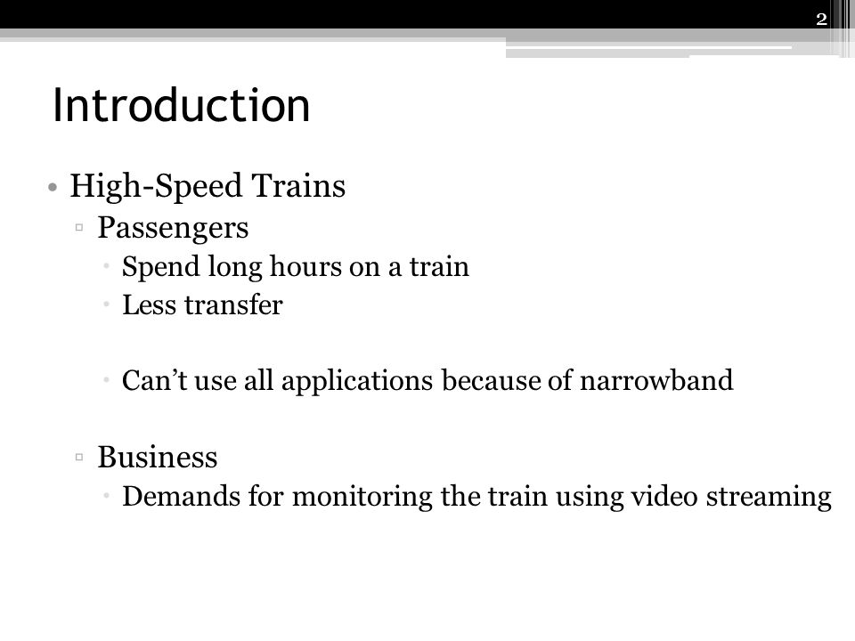 Introduction High-Speed Trains Passengers Business