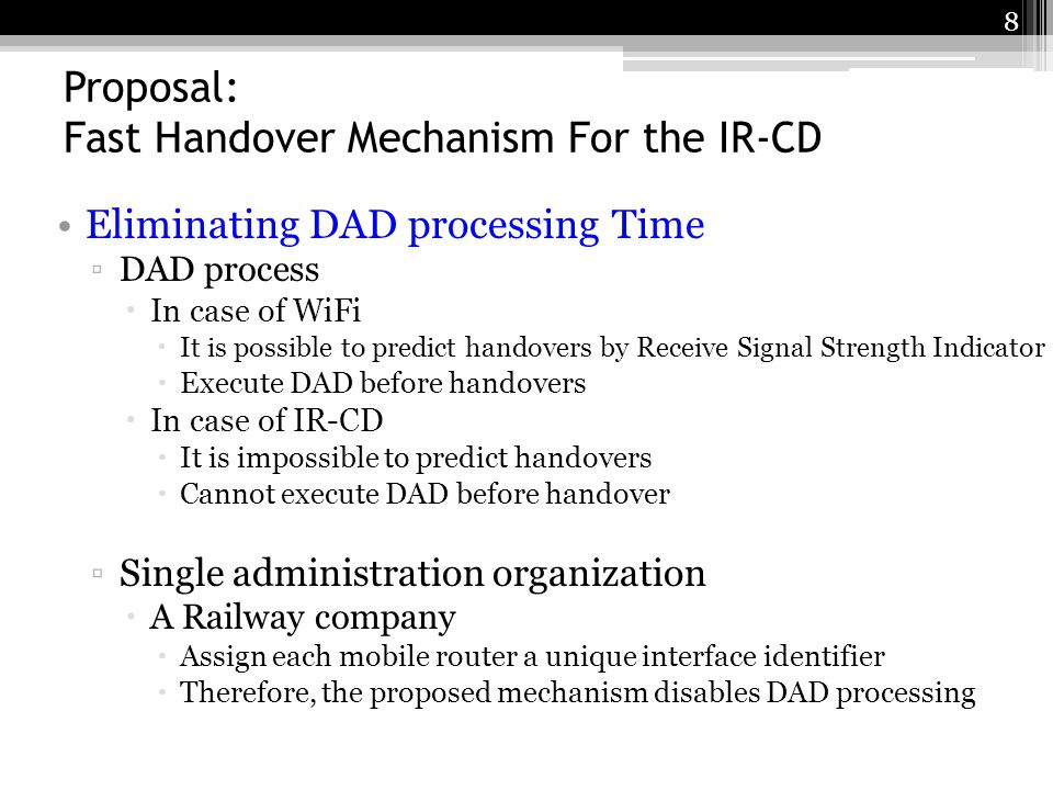 Proposal: Fast Handover Mechanism For the IR-CD