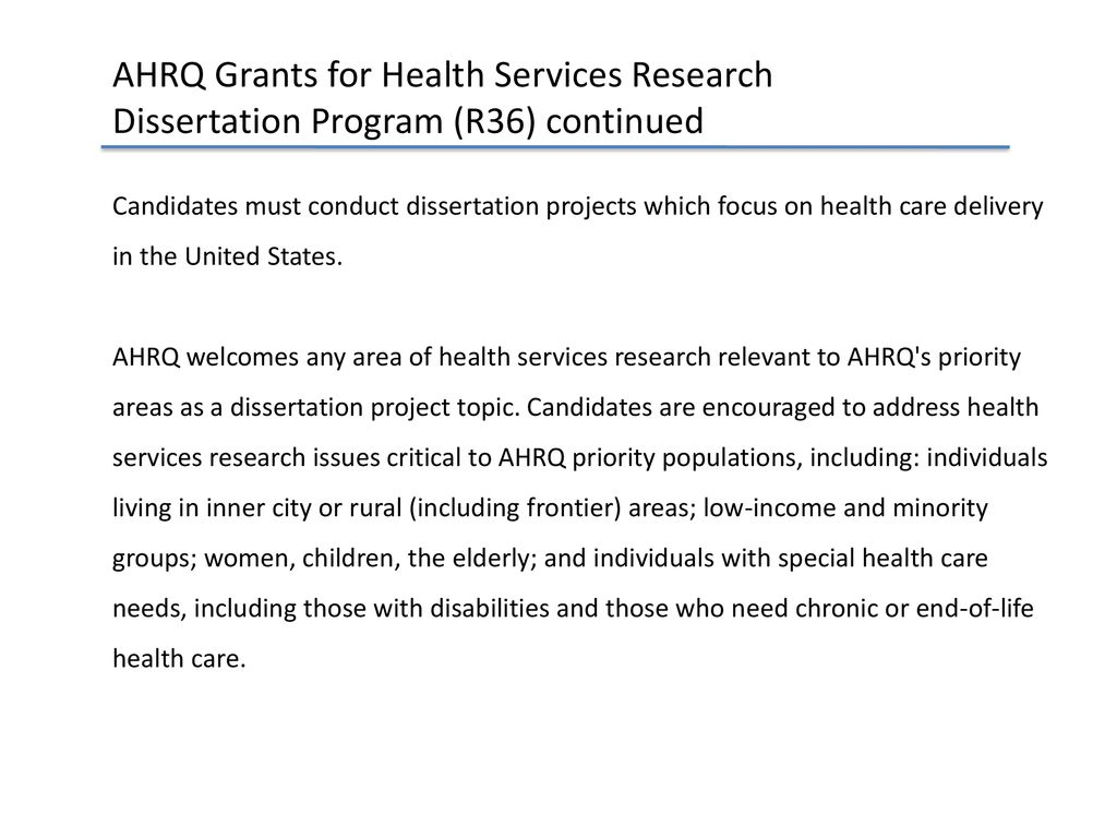 ahrq grants for health services research dissertation program (r36)