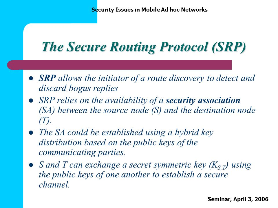 The Secure Routing Protocol (SRP)
