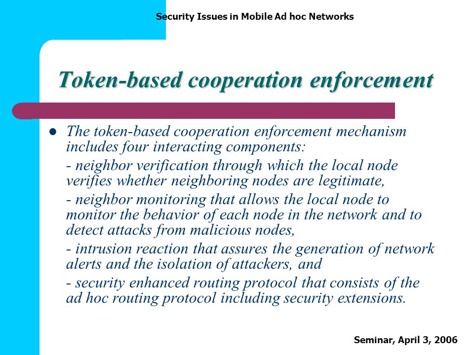 Token-based cooperation enforcement
