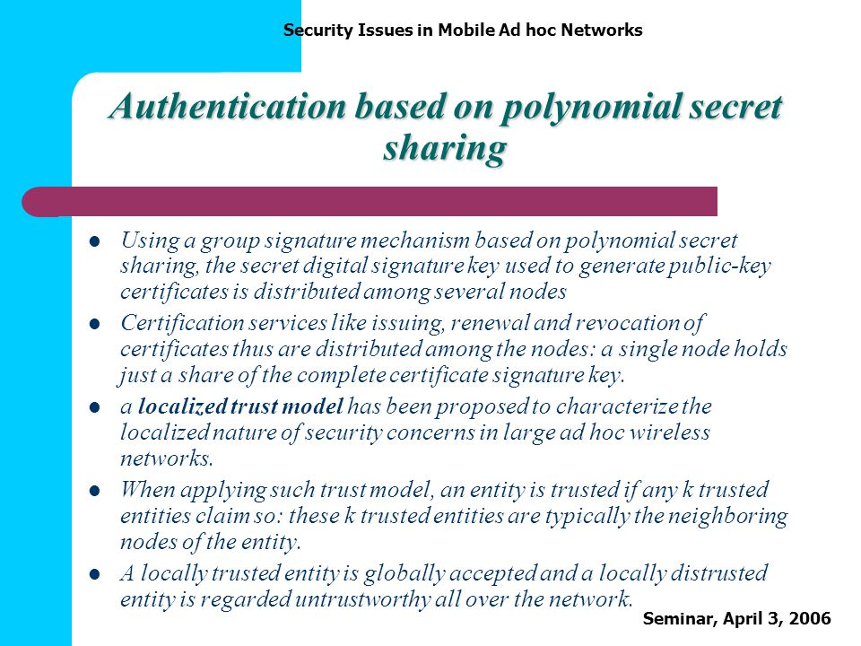 Authentication based on polynomial secret sharing