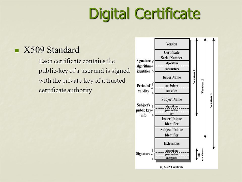 Digital Certificate X509 Standard Each certificate contains the