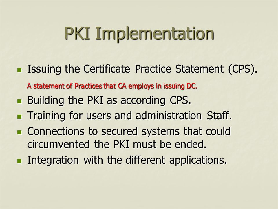 PKI Implementation Issuing the Certificate Practice Statement (CPS).