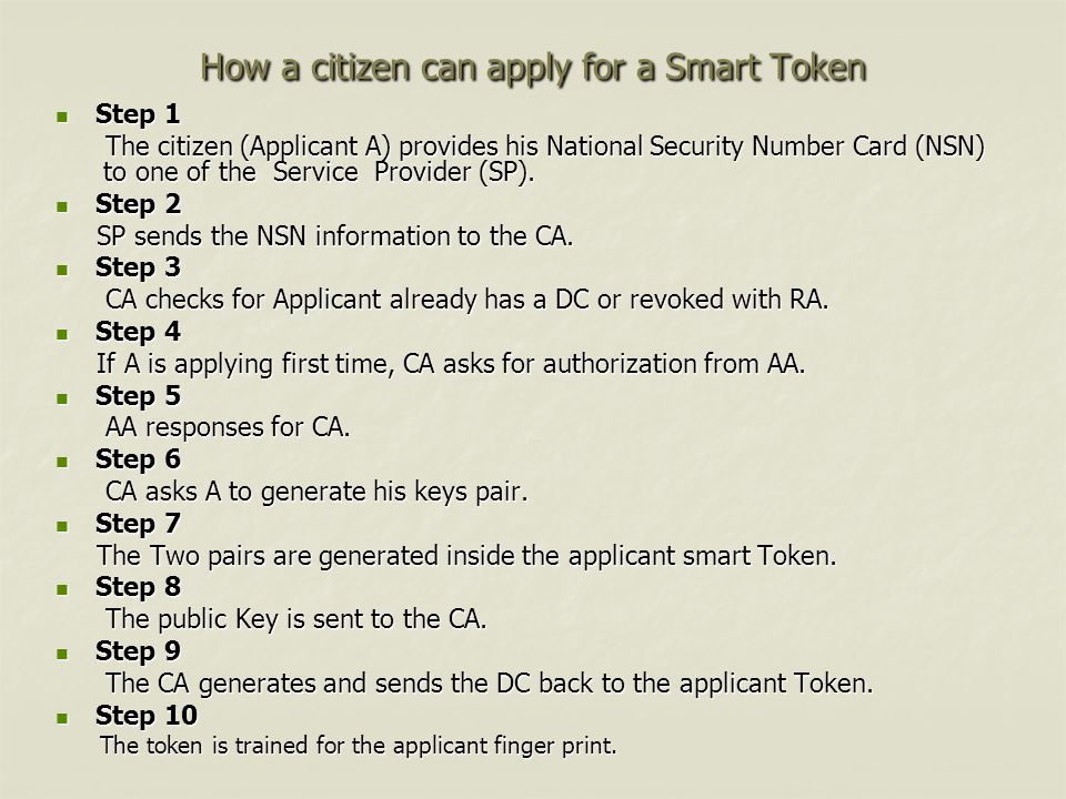 How a citizen can apply for a Smart Token