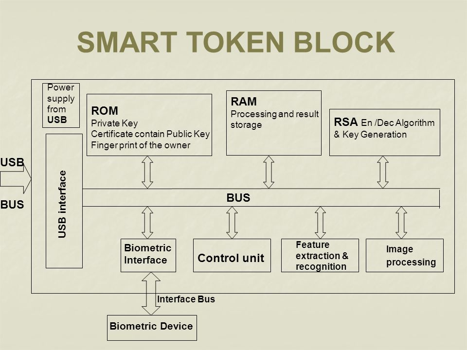 SMART TOKEN BLOCK RAM ROM RSA En /Dec Algorithm USB BUS BUS