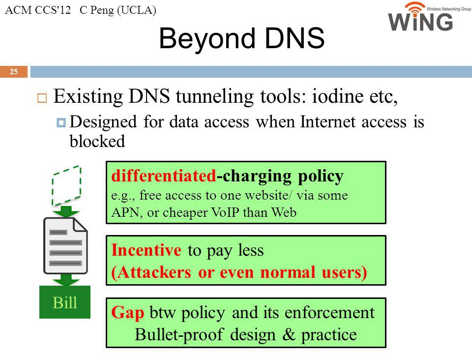 Beyond DNS Existing DNS tunneling tools: iodine etc,