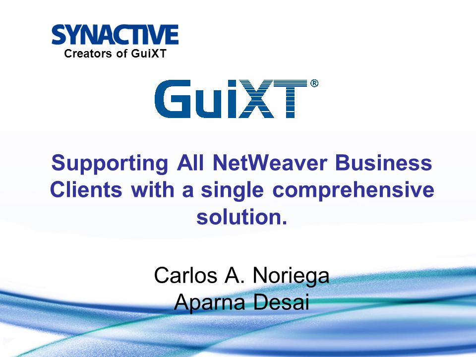 Supporting All NetWeaver Business Clients with a single comprehensive solution.