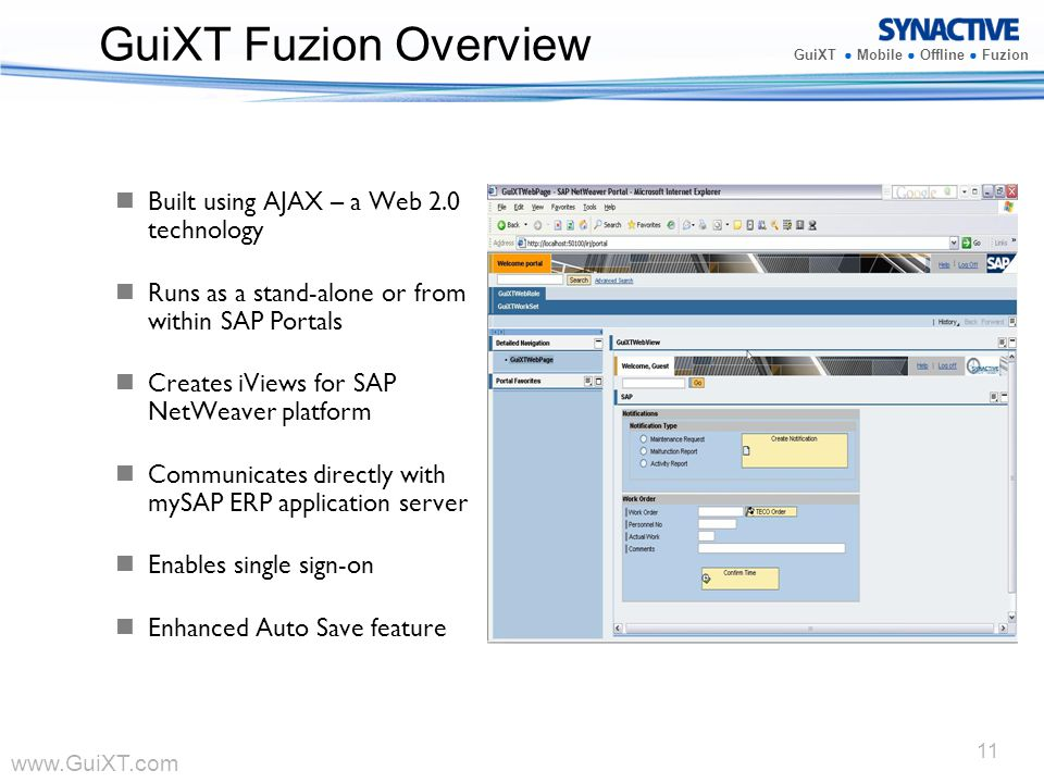 GuiXT Fuzion Overview Built using AJAX – a Web 2.0 technology
