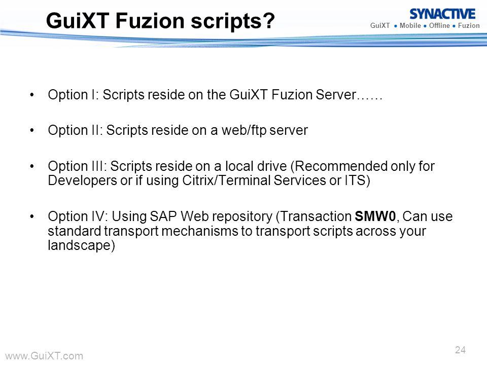 GuiXT Fuzion scripts Option I: Scripts reside on the GuiXT Fuzion Server…… Option II: Scripts reside on a web/ftp server.