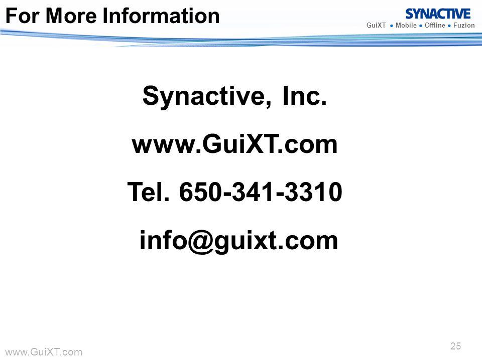 Synactive, Inc. www.GuiXT.com Tel. 650-341-3310 info@guixt.com