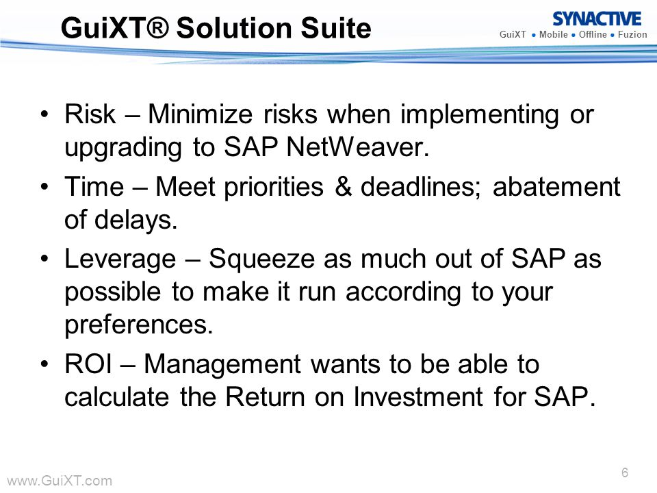 GuiXT® Solution Suite Risk – Minimize risks when implementing or upgrading to SAP NetWeaver.