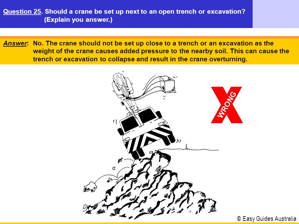 Question 25. Should a crane be set up next to an open trench or excavation