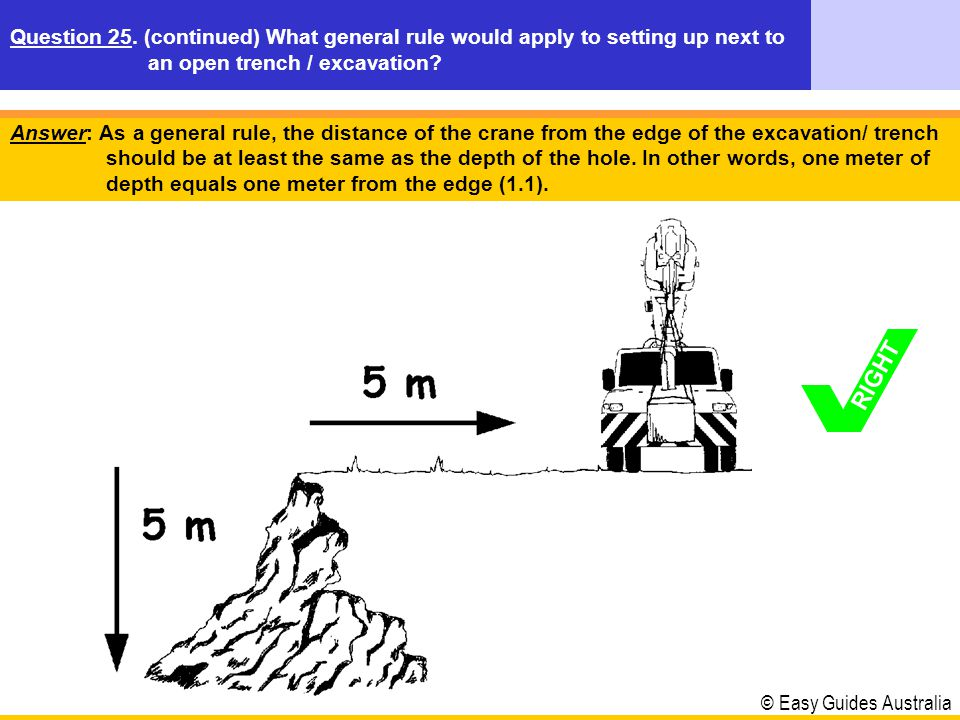 Question 25. (continued) What general rule would apply to setting up next to