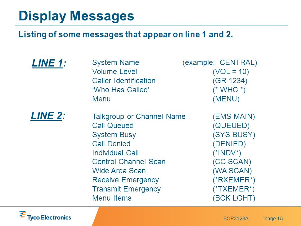 Display Messages LINE 1: LINE 2: