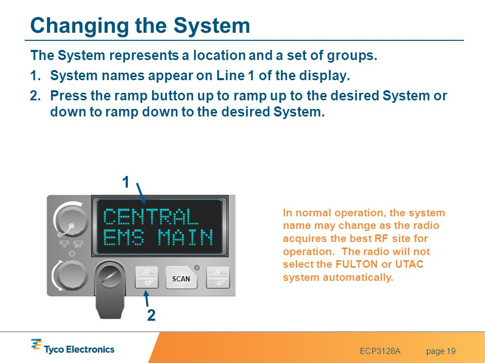 Changing the System CENTRAL EMS MAIN 1 2