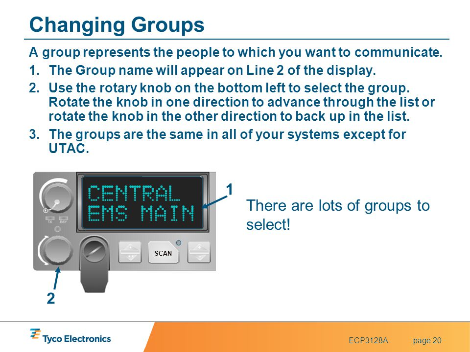 Changing Groups CENTRAL EMS MAIN 1 There are lots of groups to select!