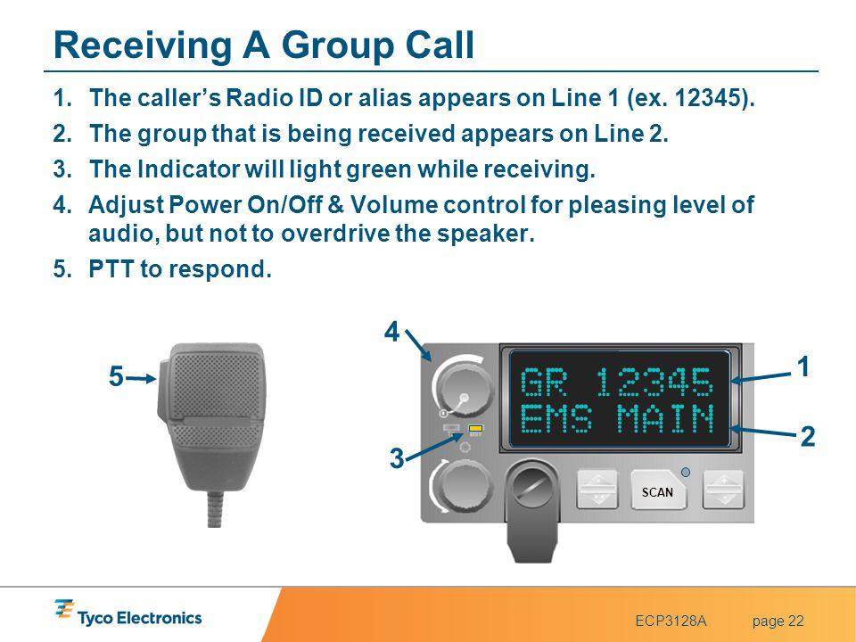 Receiving A Group Call GR 12345 EMS MAIN 4 1 5 2 3