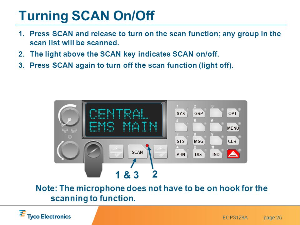 Turning SCAN On/Off CENTRAL EMS MAIN 1 & 3 2