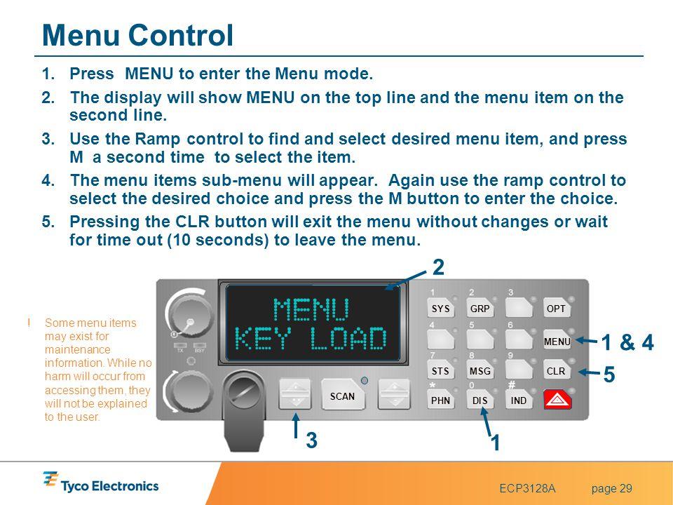 Menu Control KEY LOAD 2 1 & 4 5 3 1 Press MENU to enter the Menu mode.