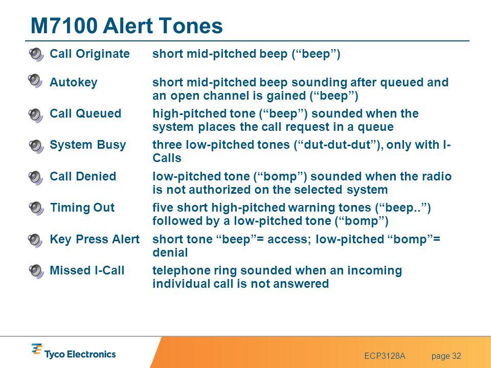 M7100 Alert Tones Call Originate short mid-pitched beep ( beep )