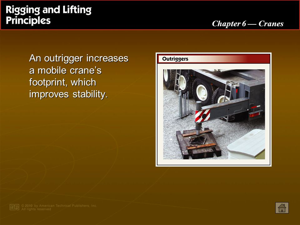 An outrigger increases a mobile crane's footprint, which improves stability.