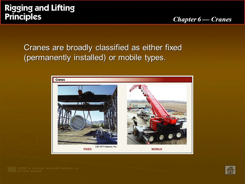 Cranes are broadly classified as either fixed (permanently installed) or mobile types.