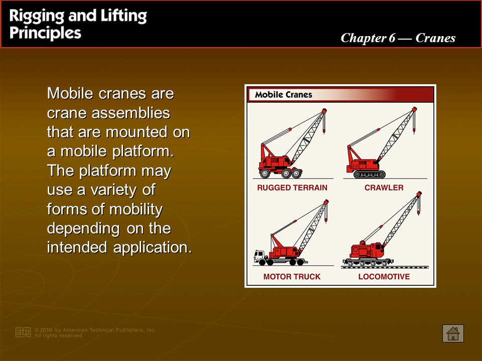 Mobile cranes are crane assemblies that are mounted on a mobile platform. The platform may use a variety of forms of mobility depending on the intended application.