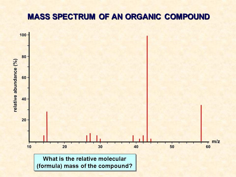 MASS SPECTRUM OF AN ORGANIC COMPOUND