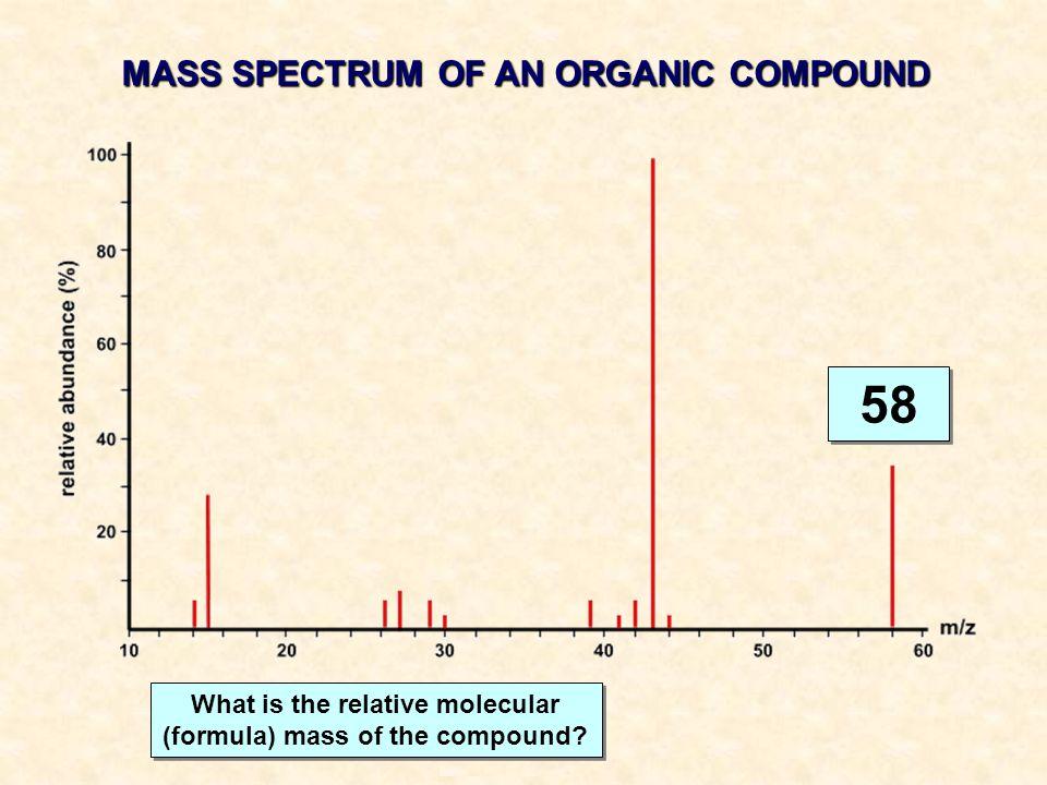 58 MASS SPECTRUM OF AN ORGANIC COMPOUND