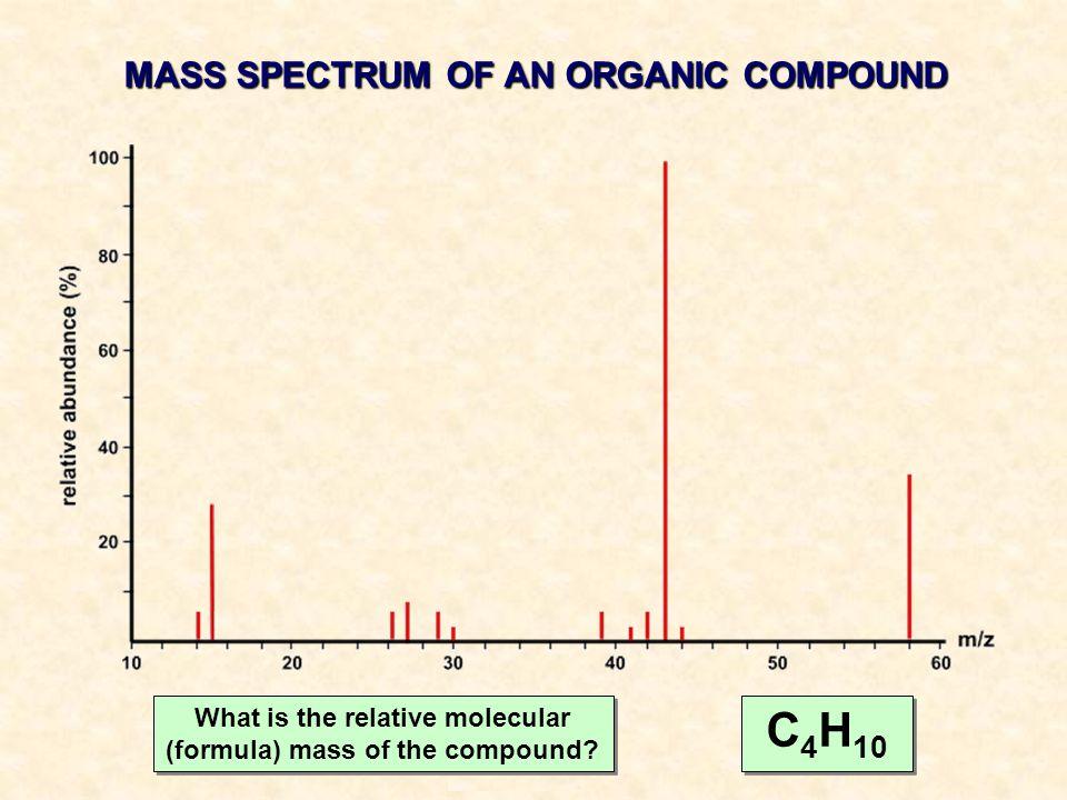 C4H10 MASS SPECTRUM OF AN ORGANIC COMPOUND