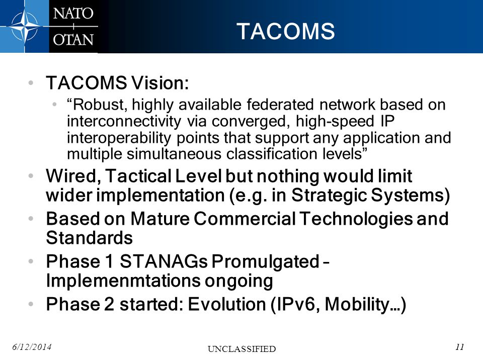 TACOMS TACOMS Vision: