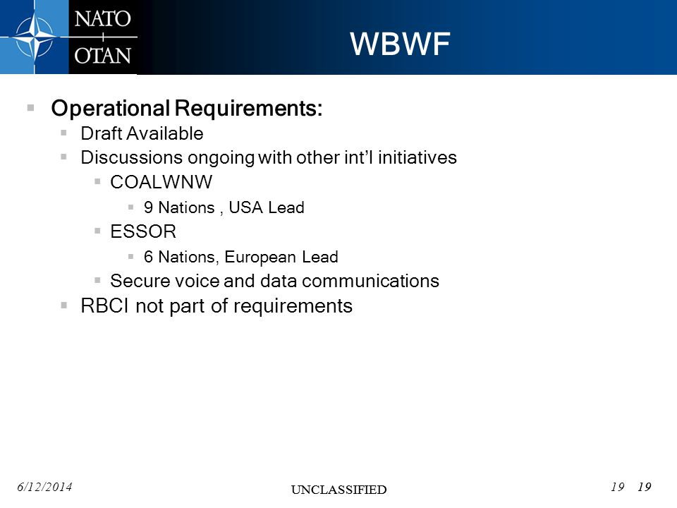 WBWF Operational Requirements: RBCI not part of requirements