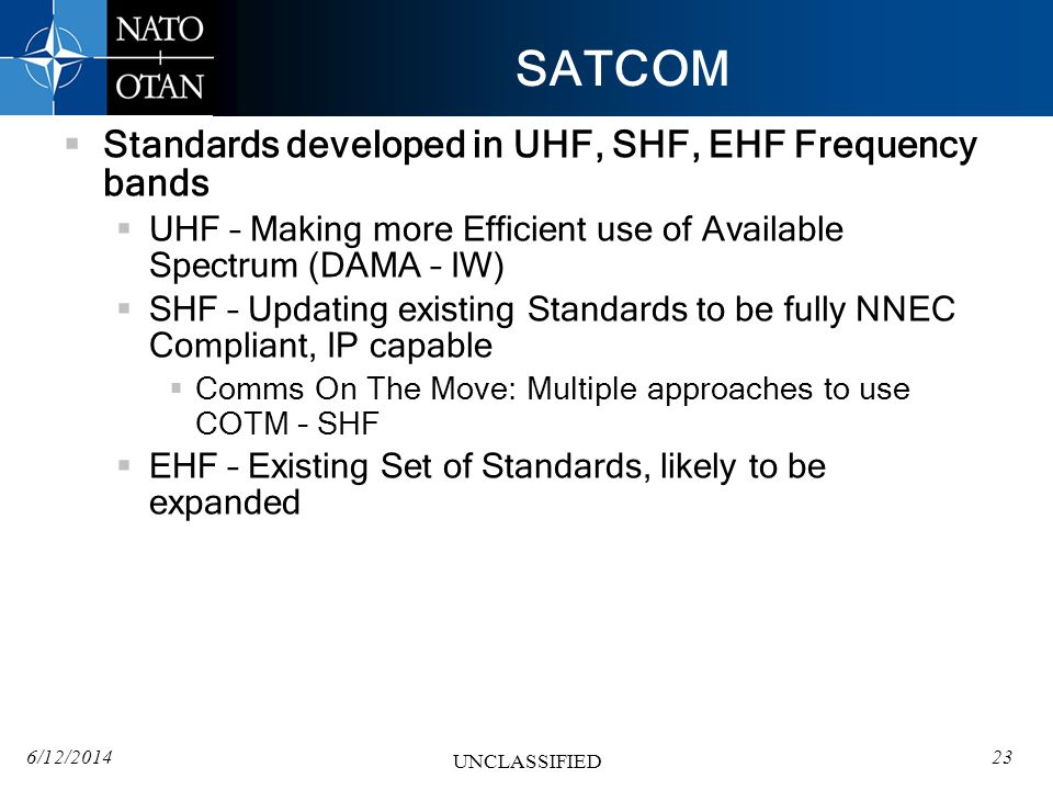 SATCOM Standards developed in UHF, SHF, EHF Frequency bands