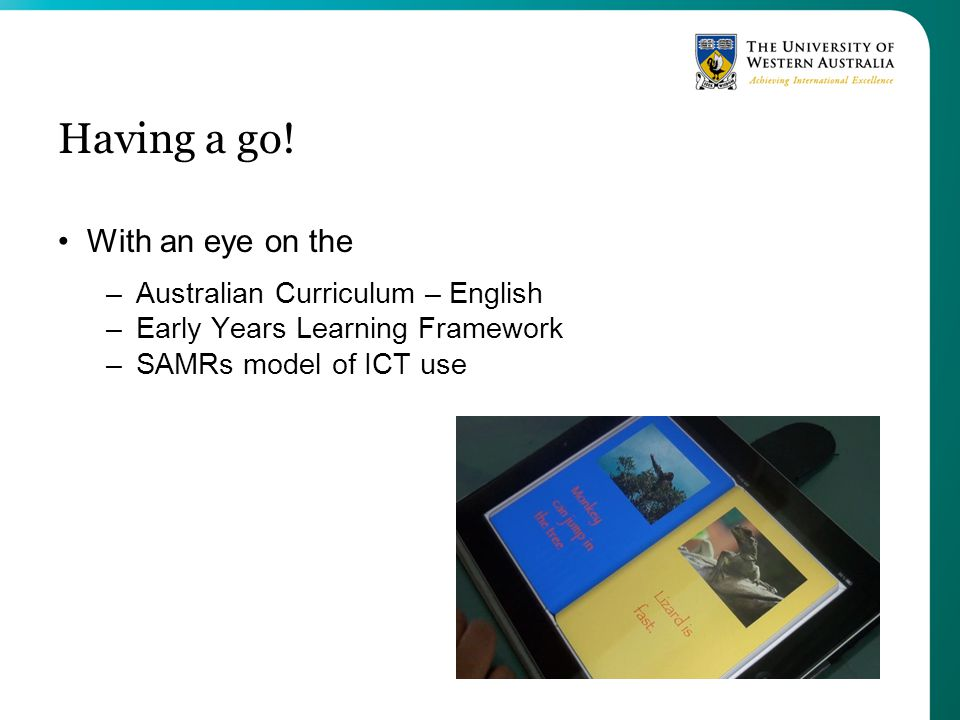 Having a go! With an eye on the Australian Curriculum – English